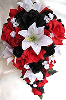 21 Pieces Package Wedding Bouquet Bridal Silk Flower Cascade BLACK RED WHITE Lily Centerpiece Decoration Rosesanddreams