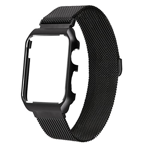 LKEITY Compatible for Apple Watch Band Milanese Loop, Stainless Steel Replacement Strap iWatch Magnetic Band with Metal Case Cover for iWatch Series 2 Series 1(42mm Black)