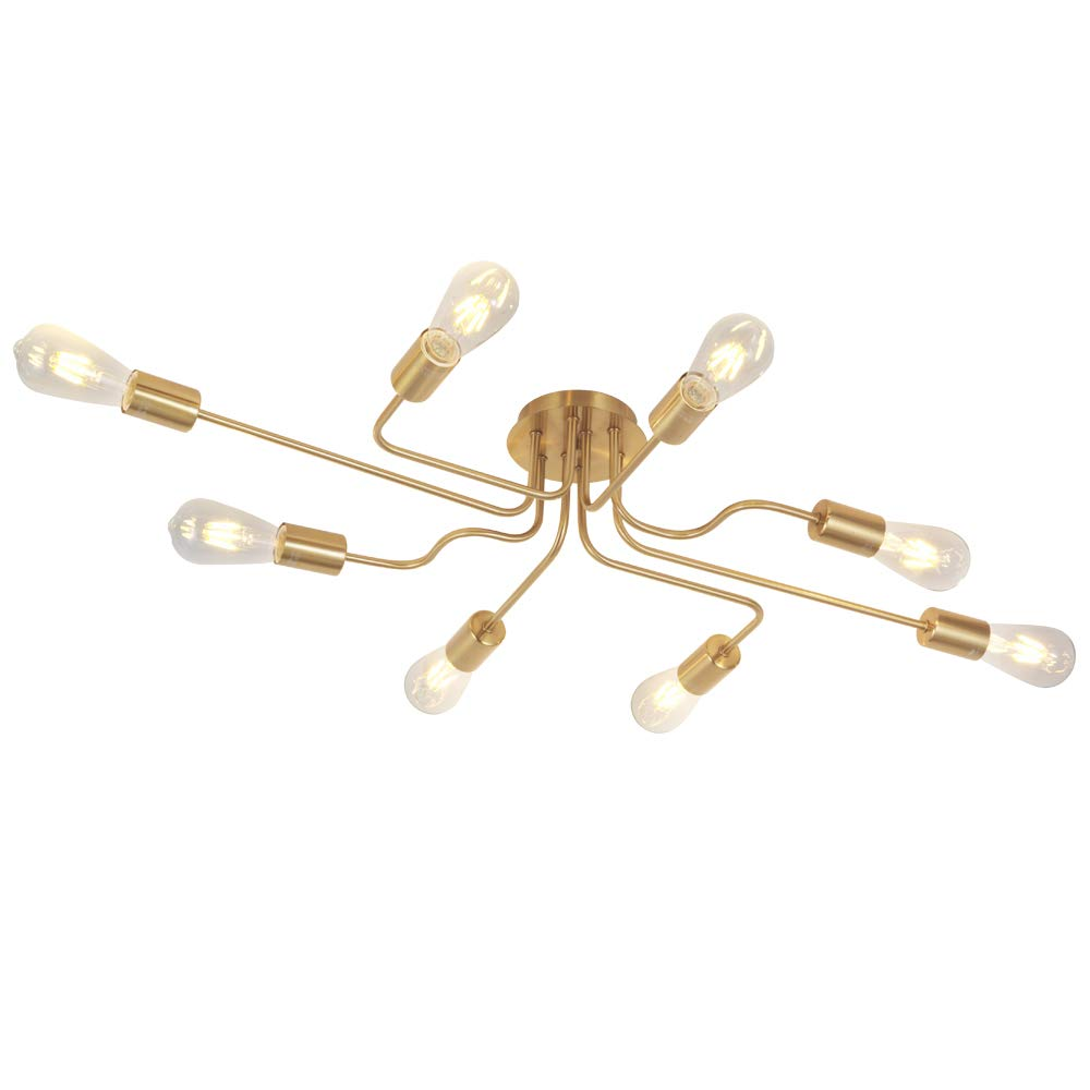 VINLUZ 8-Lights Sputnik Chandelier Gold Semi Flush Mount Ceiling Light Brushed Brass Industrial Vintage Metal Art Pendant Light Fixture for Living Room Dining Room Kitchen Hallway Cafe Bar
