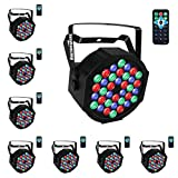 Par Lighting for Stage, 36x1W LED RGB 7 Channel with Remote for DJ KTV Disco Party (8 PCS)