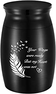 3 Inches Small Keepsake Urn for Human Ashes Aluminum Mini Cremation Urns Memorial Ashes Urn Miniature Burial Funeral Urns for Sharing Ashes Mini Keepsake Urn-Your Wings were Ready But My Heart was not