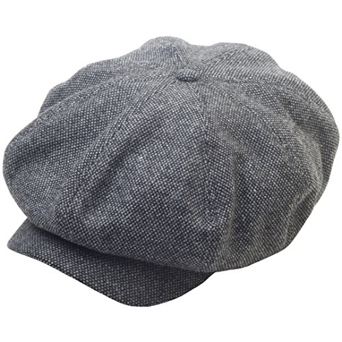 RaOn N124 8 Panel Homespun Harris Donegal Tweed Pattern Fabric Newsboy Cap Gatsby Hat (Military Tweed Hat)