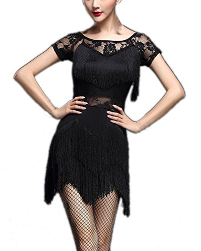 Women's Rumba Jazz Samba Salsa Latin Dance Night Party Outfit Costume Dress Black ()