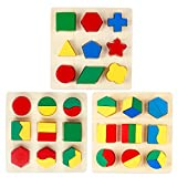 Monilon Wooden Preschool Shape Puzzle, 3 Packs Geometric Shape Color Sorting Chunky Puzzle Kids Toys for Boys Girls - Early Learning Educational Toys for Kids Ages 3 4 5 + Years Old Toddlers Preschool