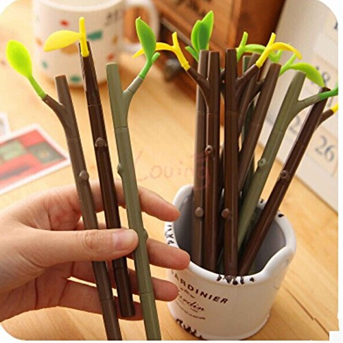 8pcs 2 In 1 Pooleak Tree shaped Design Ballpoint Grass Pen With Dust-Proof Plug Leaf