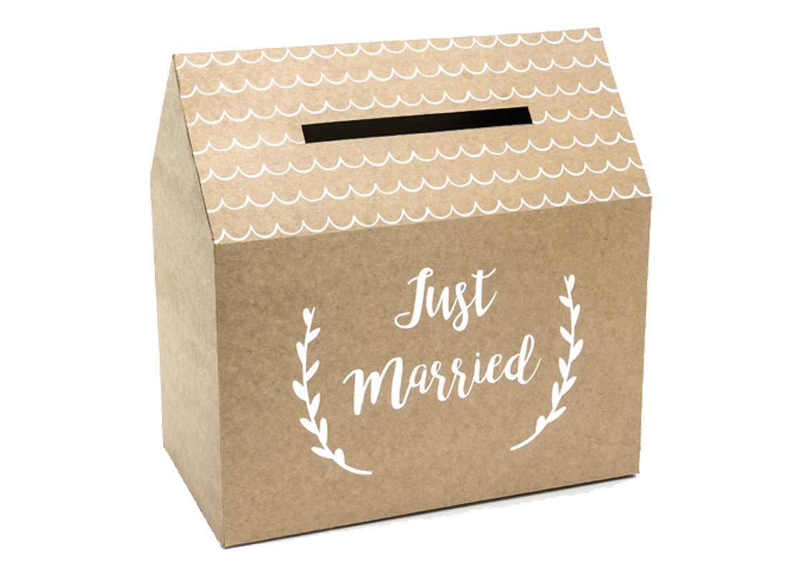 Kraft Geldbox Kartenbox Hochzeit Just Married 30x30,5x16,5 cm