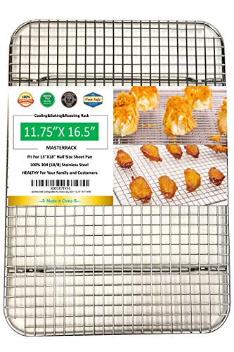 Wire Pan Grate - MASTERRACK 100% 304 Stainless Steel Cooling Rack Wire Grate Fit Half Sheet Pan,use at Smoking, Baking,BBQ,Drying,Heavy Duty Commercial Quality,Rusty Proof.(11.75
