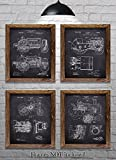 "John Deere Gifts - Set of Four 8""x10"" John Deere Tractor Patent Prints - Great Gift for Tractor Lovers!"