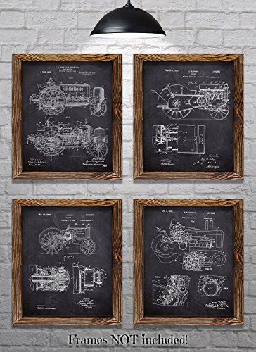 """John Deere Gifts - Set of Four 8""""x10"""" John Deere Tractor Patent Prints - Great Gift for Tractor Lovers!"""