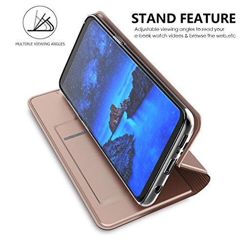 Samsung Galaxy S9 Plus Funda, CaseFirst Flip Billetera Estuche Cover Carcasa Ranura de Tarjeta Carcasas Flip Función de Soporte Wallet Cover Case (Oro Rosa) Oro Rosa