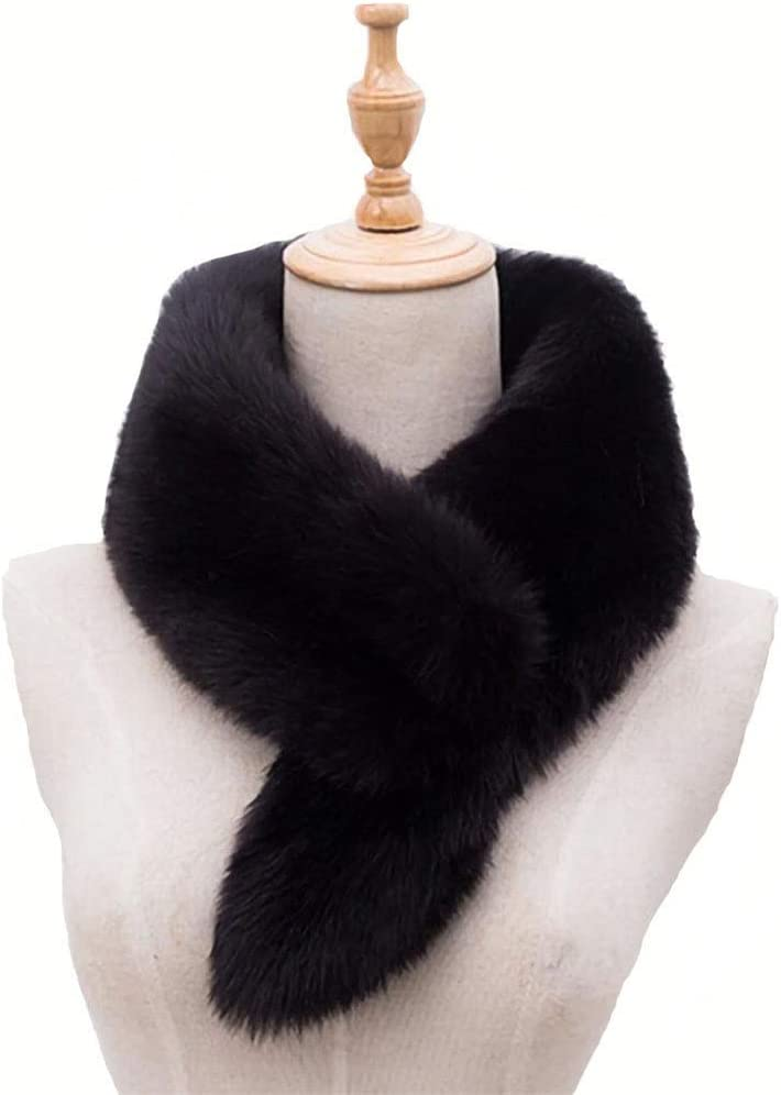 وشاح شتوي للنساء من الفرو الصناعي المستقيم بياقة من الفرو شال خفيف دافئ برقبة طويلة لتدفئة معطف الشتاء جاكيت بقبعة
