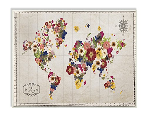 The Stupell Home Decor Collection Floral World Map Graphic Art Wall - Plaque Map