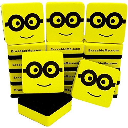 raser with Ez-Erase Felt, Dry Erase Erasers for Home, Office and School Classroom Teacher (Yellow Face, 18) (Eraser Memo Holder)