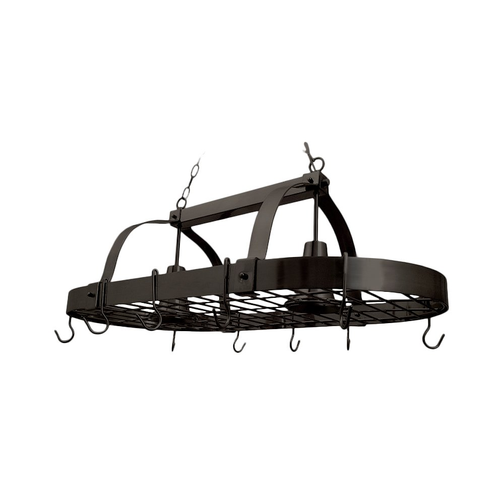 "Elegant Designs PR1000-ORB Home Collection 2 Light Kitchen Pot Rack with Downlights, 3.85"", Oil Rubbed Bronze"