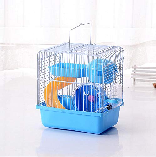 Misyue Guinea Pig Cage 2-levers Small Animal Habitats Portable Carrier Cage with Water Bottle&Wheels&Food Feeder for Small Animals (Blue)