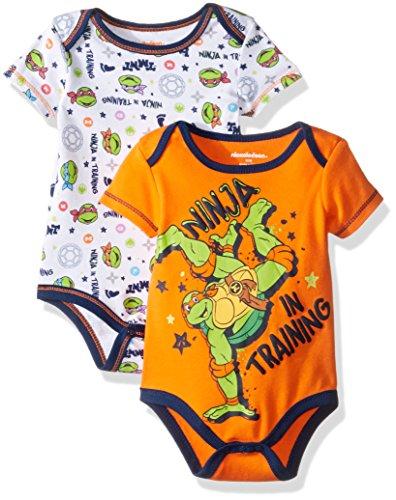 [Nickelodeon Baby Boys' Teenage Mutant Ninja Turtle 2 Pack Bodysuit Layette Set, Orange, 0-3 Months] (Ninja Turtle Suits)