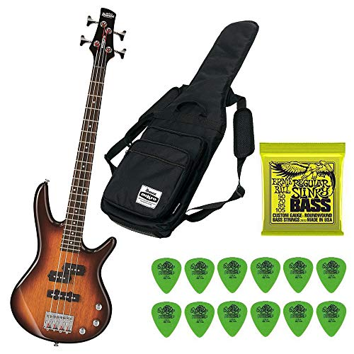Ibanez GSRM20BS Mikro 3/4 Size Bass Guitar (Brown Sunburst) Including Gig Bag, Extra Bass Strings and Guitar Pics
