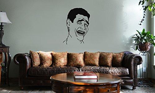 DECAL SERPENT Yao Ming Bitch Please Meme Face Vinyl Wall Mural Decal Home Decor Sticker (BLACK) -