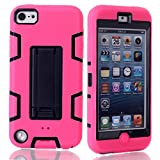 iPod Touch 6 Case,iPod Touch 5 Case, NOKEA Case Rugged Hybrid Dust Scratch Shock Resistance Kickstand Full Cover Case with Video Watching Stand for iPod touch 5 6th Gen (Rose Black)