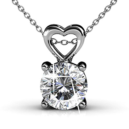 Cate & Chloe Marian 18k White Gold Pendant Necklace w/ Swarovski Crystals, Beautiful Heart Necklace for Women, Round Cut Diamond Crystal Necklace, Silver Chain Necklace Valentine Jewelry