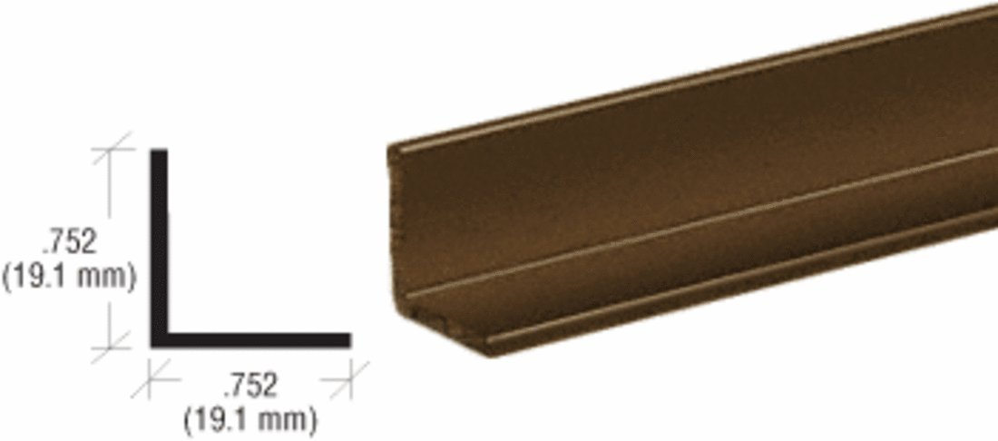 CRL Bronze Electro-Static Paint 3/4'' Aluminum Angle Extrusion - 12 ft Long