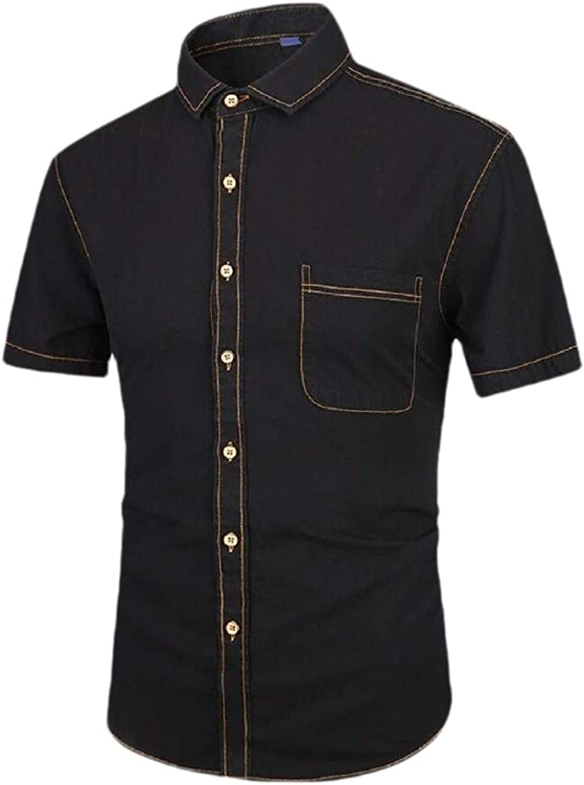 heymoney Mens Slim Fit Denim Dress Shirts Casual Button Down Short Sleeve Shirts