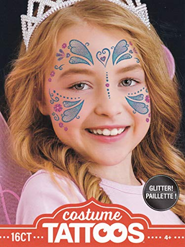 Halloween Realistic Glittered Temporary Costume Make Up Face Tattoo Kit Boy or Girl - (Child Butterfly) - 2 Kits -