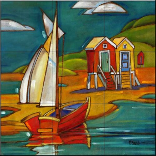 - Ceramic Tile Mural - Portofino Cabanas - by Paul Brent - Kitchen backsplash/Bathroom shower