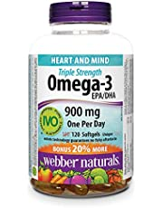 Webber Naturals Omega-3, Triple Strength, Value Size, Clear Enteric Softgel, 900 mg (600 EPA, 300 DHA), 120-Count