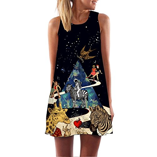 (Dressin Womens Dress Summer O-Neck Boho Sleeveless Floral Printed Beach Mini Dress Casual T-Shirt Tank Tops Short Dress)