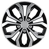 "Pilot Automotive WH553-15S-BS Spyder 15"" Performance Wheel Cover, Two Tone Black/Silver Finish, (Pack of 4)"
