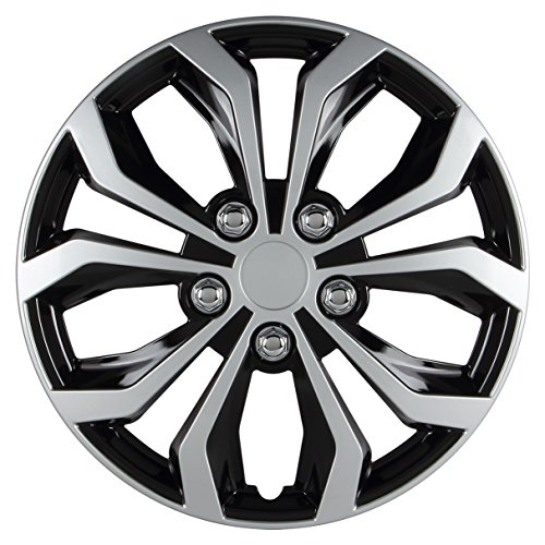 - Pilot Automotive WH553-15S-BS Universal Fit Spyder Wheel Cover [Set of 4] - 15 in. ABS Hub Cap with 10 Spokes, Black/Silver Finish. Car Accessories