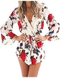 Uncinba Women's Flare Sleeve Floral Faux Wrap Loose Rompers