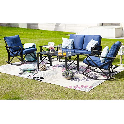 LOKATSE HOME 5Pcs Patio Furniture Conversation Bistro Sets Loveseat and 2 Coffee Table, 5 pcs Chair, Blue