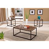 Kings Brand Furniture 3 Piece Metal Frame with Faux Marble Finish Coffee Table & 2 End Tables Occasional Set