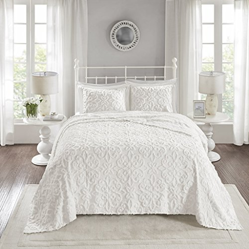 Madison Park Sabrina 3 Piece Tufted Cotton Chenille Quilt Set Coverlet Bedding, Full/Queen Size, White (Black Tufted Bedding)