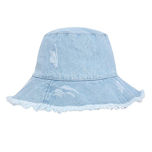 ZLYC Women Washed Cotton Denim Bucket Hats caps (Light Blue) (Blue Denim Bucket Hat)