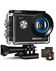 Dragon Touch Action Cam 4K, Action Camera 20MP EIS anti-shake-ondersteuning externe microfoon onderwatercamera 30 m waterdichte sportcamera met montage-accessoires Kit - Vision 4 Lite