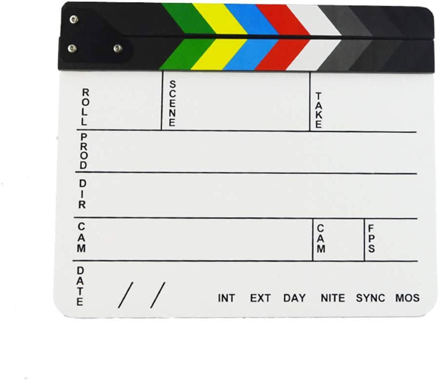 Bluelans Acrylic Plastic Directors Film Clapboard Cut Action Scene Clapper Board Slate with Color Sticks 10x12//25x30cm White