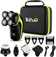 Telfun Head Shavers for Bald Men, 5-in-1 Electric Razor for Men w/h LED Display, IPX7-Waterproof, Faster-Charg