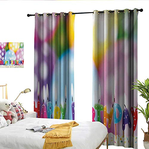 (Perfectble Kids Birthday Celebration Colorful Candles on Party Cake with Abstract Blurry Backdrop Multicolor Drapes)