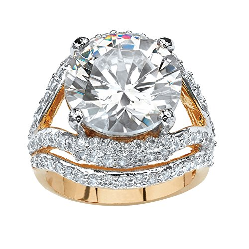 Palm Beach Jewelry Round White Cubic Zirconia 14k Gold-Plated Engagement Anniversary Double Split-Shank Ring Size 9 -