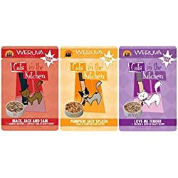 Weruva Cats In The Kitchen Grain Free 3 Flavor Variety 6 Pouch Bundle: (2) Love Me Tender, (2) Pumpkin Jack Splash, and (2) Mack Jack & Sam, 3 Oz. Ea. (6 Pouches)