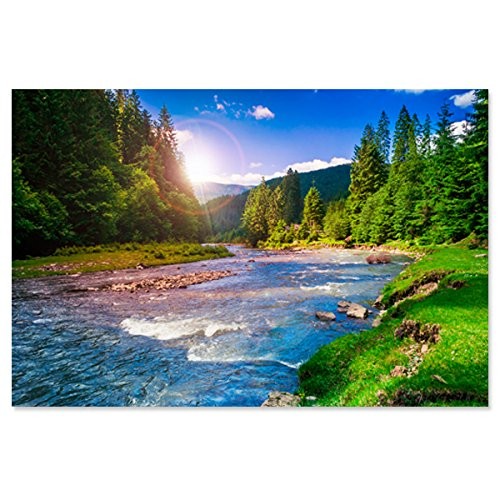 (Large Wall Art Decor Poster Painting On Canvas Print Pictures Mountain River with Rainbow Outdoor Nature Scenery Green Forest Landscape Artwork Picture for Living Room Decoration (Unframed)