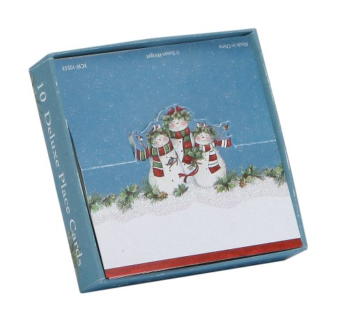 Gibson Snowman (C.R. Gibson Deluxe Holiday Place Card, Snow Family, X-Large, Set of 10)