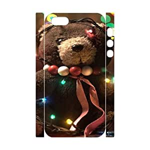 3D Adorable Teddy Bear IPhone 5,5S Case, Shock Absorbing Case Color Case for Iphone 5s Okaycosama {White}