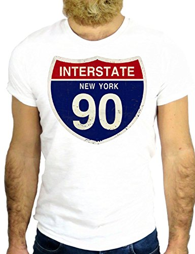 T SHIRT JODE Z1318 NEW YORK USA AMERICA ROUTE 66 INTERSTATE 90 COOL VINTAGE GGG24 BIANCA - WHITE S