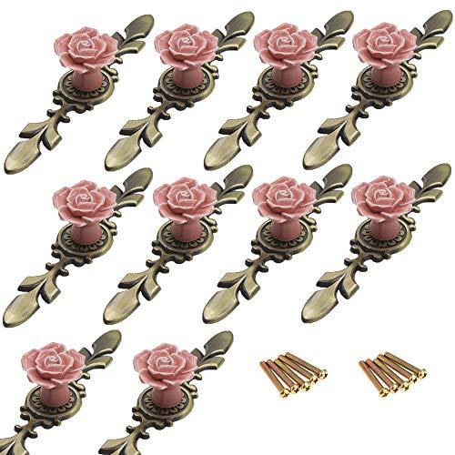 Silver Vintage Overlay (FirstDecor 10PCS Vintage Floral Rose Shaped Ceramic Door Knobs Handle Drawer Kitchen Cabinet Dresser Drawer Pull with Antique Brass Base for Home Decorating)
