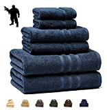IRVINGTION/Luxury Hotel & Spa, Turkish COTTON,6 Pieces Towels Set, Max-Softness by Veteran Textile (Marine Blue)