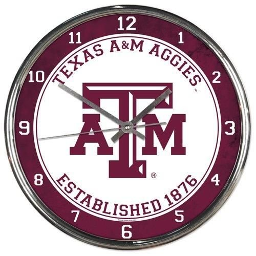 NCAA Texas A&M Aggies Chrome Clock, 12
